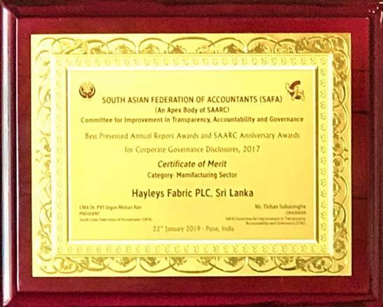 South Asian Federation of Accountants (SAFA) Award (An Apex Body of SAARC) – 2017